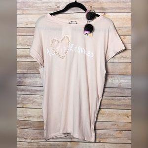 Zara light peach short sleeve tee sz L NWT